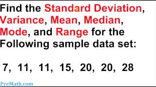How to Find tнe Standard Deviation, Variance, Mean, Mode, and Range for any Data Set