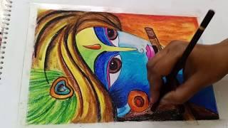 Janamastmi drawing drawing of Krishna with  pastels/wall decore painting of Krishna/