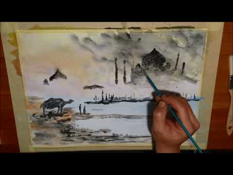 watercolor Acrylic Painting Techniques, Easy For Beginners, Relaxing, Acryl, abstract, india