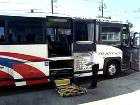 Charter Bus Handicap Chair Lift Demo In Panorama Tours Bus