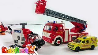 Kids Toys: Fire Rescue Team! Fire Engine Truck, Police, Ambulance & Helicopter battle a FIRE!