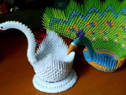 Origami peacock and swan hand craft youtube for Waste material craft work with paper