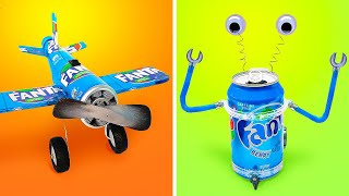 FANTAstic Crafts    How To Make Airplane Fan And Mini Robot From Fanta Can