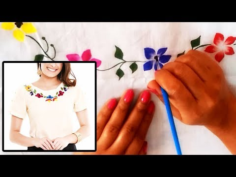 Boat Neck Hand Painted Designer Top | Free Hand Fabric Painting Designs| Very Simple & easy