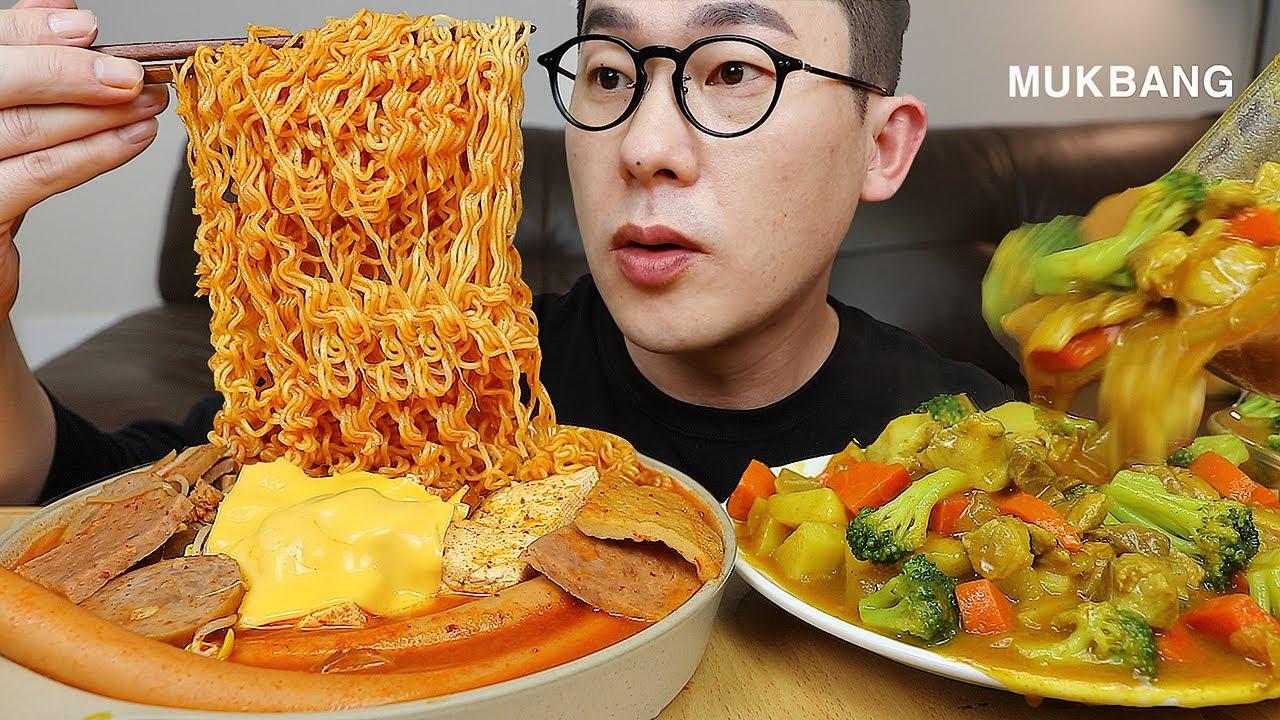 내일 메뉴는 이걸로가시죠! 용암부대찌개와 🍛카레밥 요리 먹방! Budae-jjigae, sausage stew MUKBANG