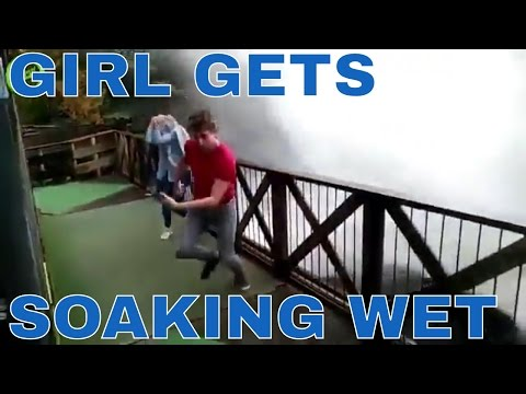 GIRL GETS SOAKING WET AT A WATERSLIDE