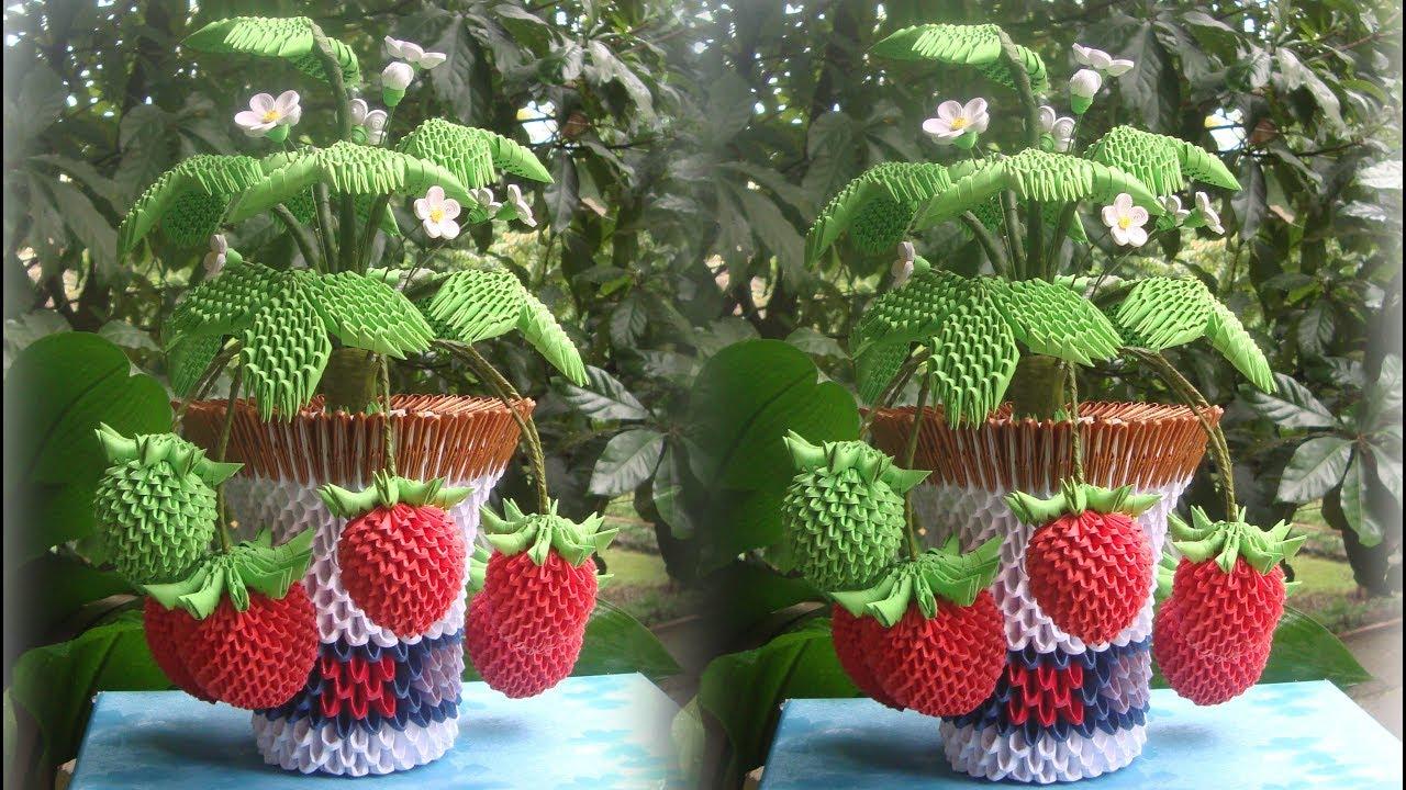 3D Origami Strawberry Pot Tutorial   DIY Paper Strawberry Pot Home Decoration