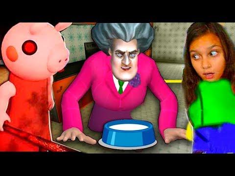 МИСС ТИ стала кошкой ПИГГИ 😲 Обновление Miss T Scary Teacher 3D Училка / ДЕЛАЮ КОНЦОВКУ Валеришка