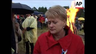 Bonfire as part of celebrations to mark anniversary of Baltic Way protest