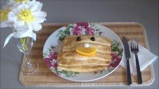 Блины на воде. Рецепт вкусных низкокалорийных блинчиков. Обучающее видео для детей. Pancakes baking