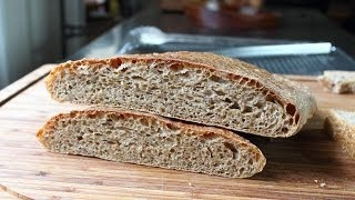 "Whole Wheat Ciabatta - No-Knead Whole Wheat ""Slipper"" Bread Recipe"