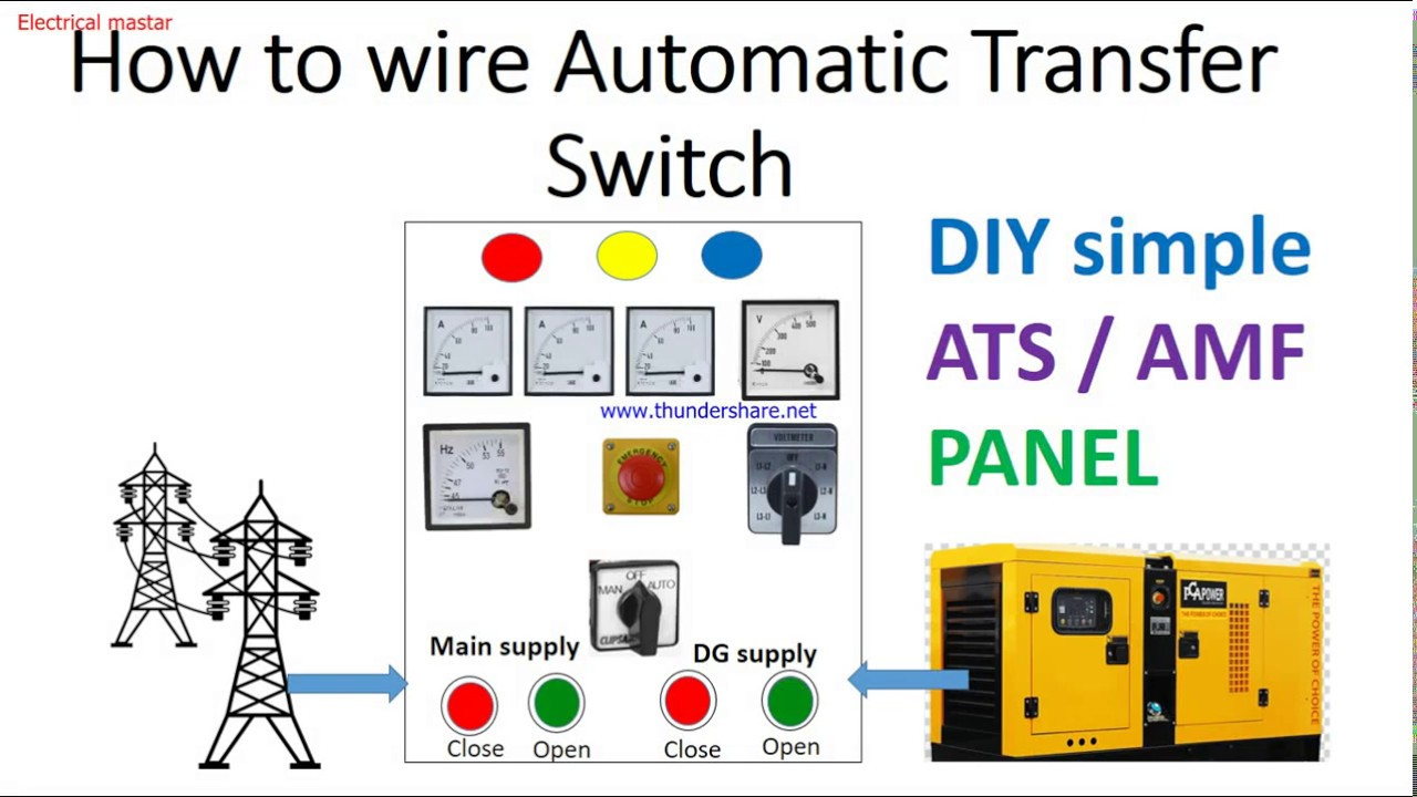 How To Wire Simple Auto Transfer Switch Ats Auto Main Failure Panel Wiring Explanation Youtube