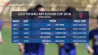 Lịch thi đấu vòng bảng AFF Cup 2018 trực tiếp VTC | Tin Bóng Rổ | Web The Thao