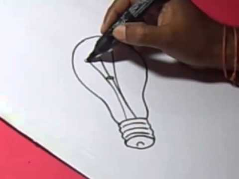 How To Electric Bulb Drawing For Kids Step By Step Youtube