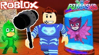 O MENINO GATO PJ MASKS ESTA FURIOSO NO MARRETÃO NO ROBLOX (Flee the Facility) PJ MASKS