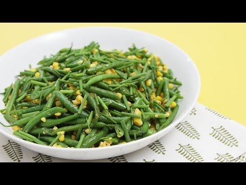 Sautéed haricots verts with fresh corn & chives