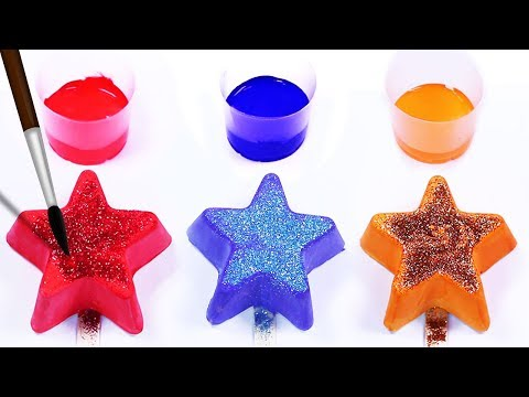 Learn Colors Stars Play Doh Balls Stop Motion Glitter Paint Finger Family Song Kids Baby Toddlers