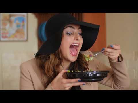 Laughing Eating Salad