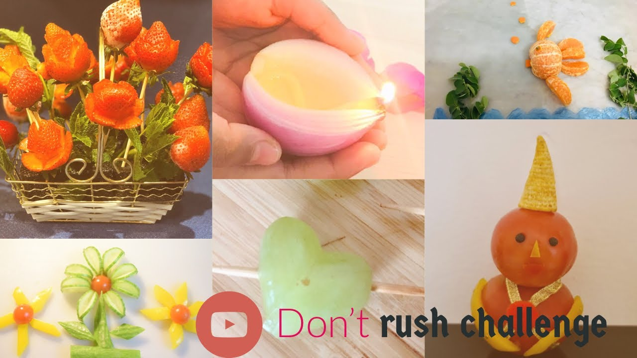 Don't rush challenge by 6 youtubers | 6 fruit / vegetable crafts | cook easy eat healthy