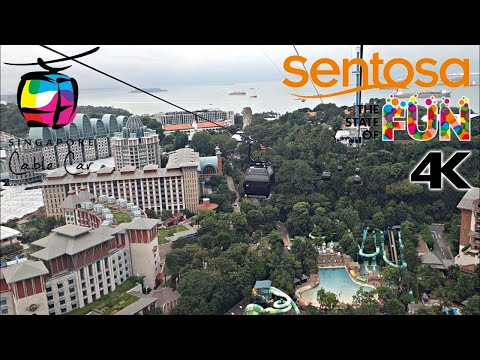 [4K] Singapore Cable Car - Ride From Mount Faber to Sentosa