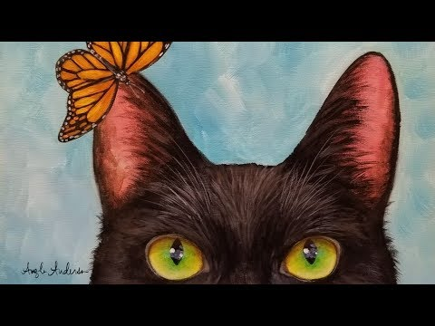 How to Paint a Black Cat with Monarch Butterfly LIVE Acrylic Painting Tutorial