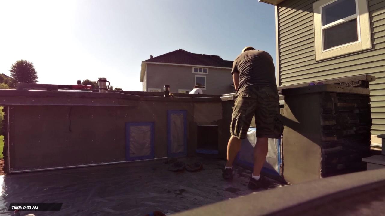 Outdoor Kitchen Stucco Base Coat Youtube