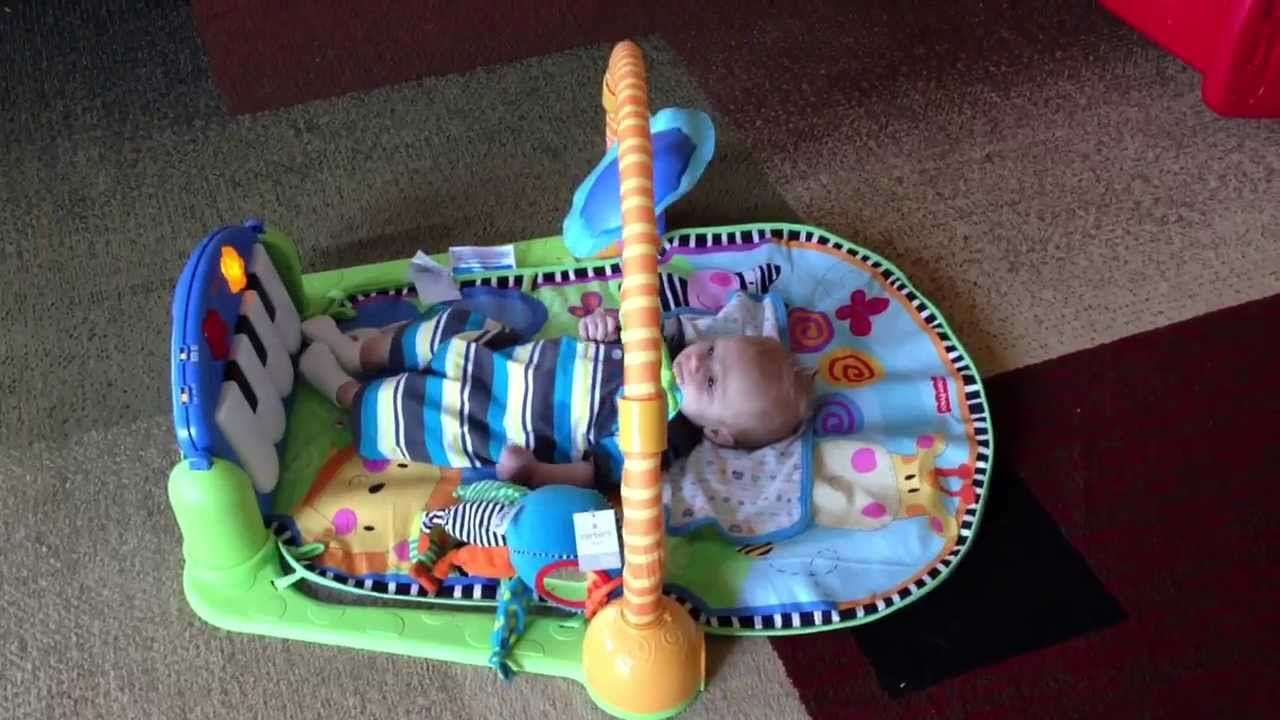 6 Week Old Baby Playing With Fisher Price Discover N Grow