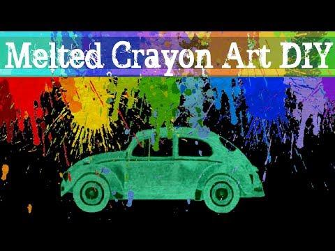 VW Beetle Melted Crayon Art Tutorial