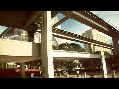 Miami Metrorail Southbound Train Arrived and Metromover Brickell Loop Departing