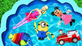Learn Characters with Paw Patrol, Barbie and Pj Masks - Learn Colors for Kids with Pool of Toys