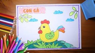 Hướng dẫn bé tô màu bức tranh con Gà Trống - How to color a Chicken -for kids!