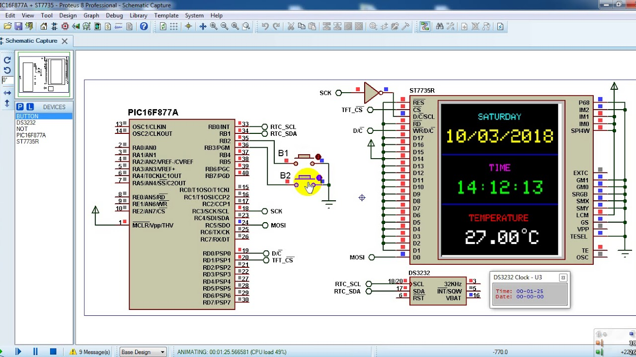 PIC16F877A with DS3231 and ST7735R TFT Proteus simulation by Simple Projects