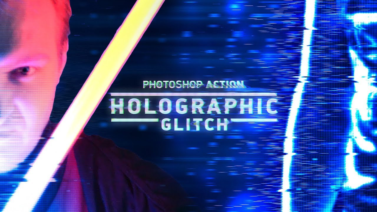 Holographic Glitch Photoshop Action - Tutorial