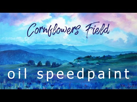 Cornflowers Field | Oil painting timelapse | Speedpainting