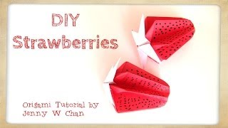 Diy Origami Strawberry - Paper Crafts Kids - Strawberries - Home Decoration - Summer Crafts Kids