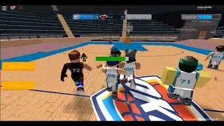 Playing basketball in Roblox