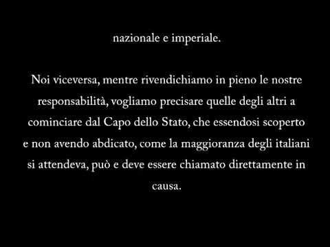 Discorso di Mussolini integrale - Radio Monaco, 18 settembre 1943