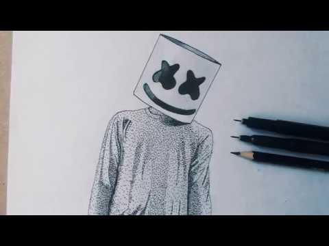 Dibujando A Marshmello Puntillismo Youtube