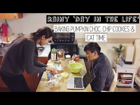 DAY IN THE LIFE: Rainy Day Seoul Vlog & Baking Pumpkin Choc. Chip Cookies 국제커플 아내가 만들어준 호박쿠키 (자막 CC)