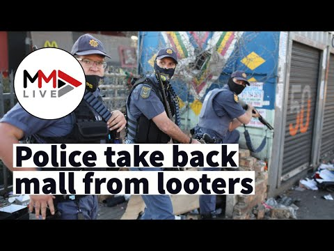 FROM THE GROUND: Police sweep shopping mall in Alexandra, arrest looters amid widespread riots