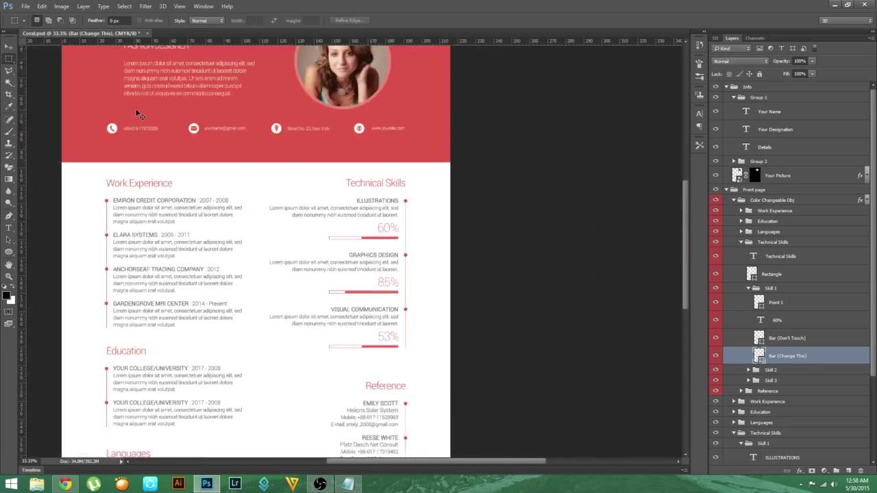 psd tutorial - material design resume