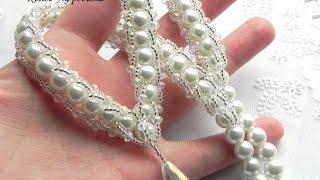 Колье свадебное, на выпускной - хрусталь и бусины под жемчуг, купить недорого Донецк