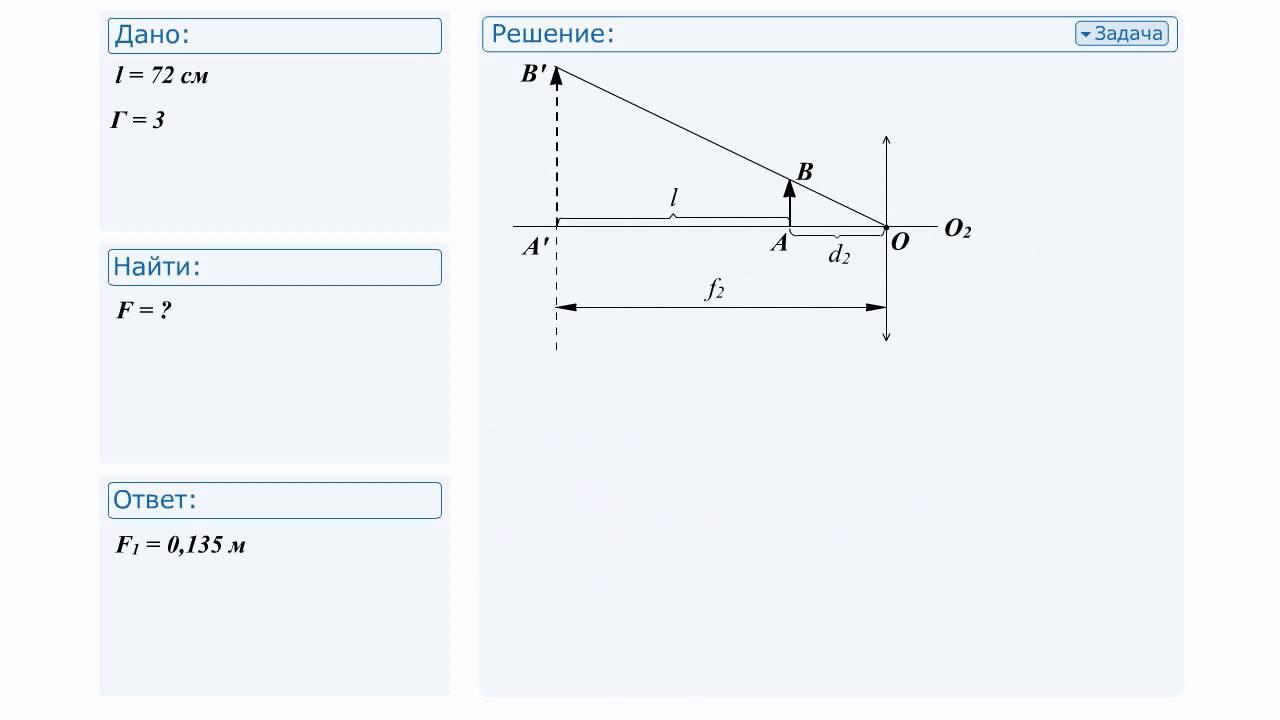 Решение задач на оптику решение задач с краткой записью 0