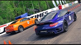 1000+ HP Porsche 911 Turbo vs. 1000+ HP Nissan GT-R R35. Unlim 500+