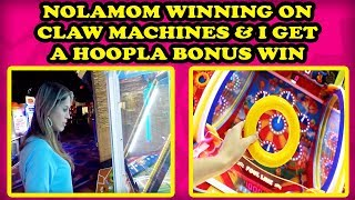 CLAWSOME video! The WIFE Plays claw machines & I get a Bonus WIN on NEW Hoopla Arcade Carnival Game!