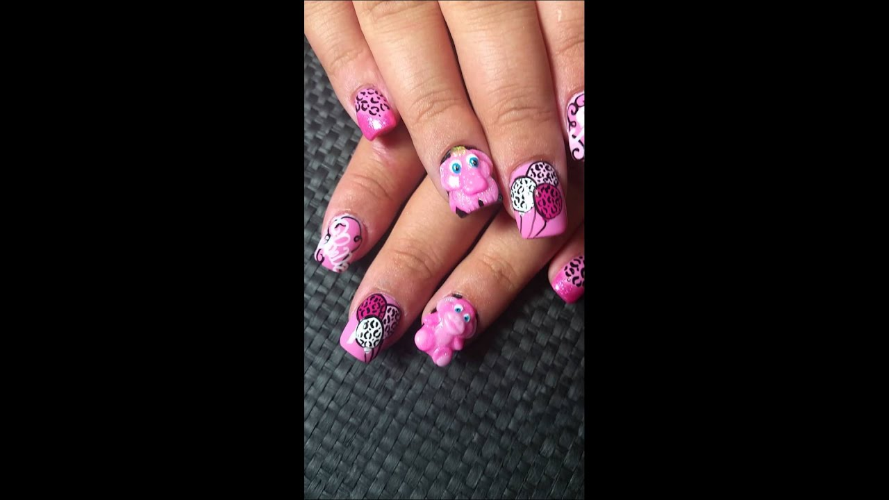 Baby shower nails - YouTube