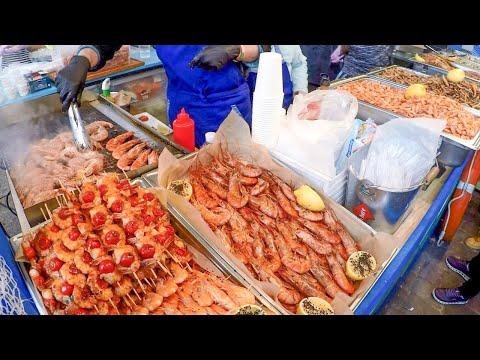 Kiev, Ukraine. Huge Street Food Festival 'Ulichnaya Eda'. Grilled Meat, Fish And More
