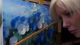 """Урок масляной живописи. """"Синий мак"""" Мастер класс. Уроки рисования. Научиться рисовать."""