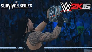 wwe survivor series 2015 roman reigns wins wwe world heavyweight champion wwe2k16