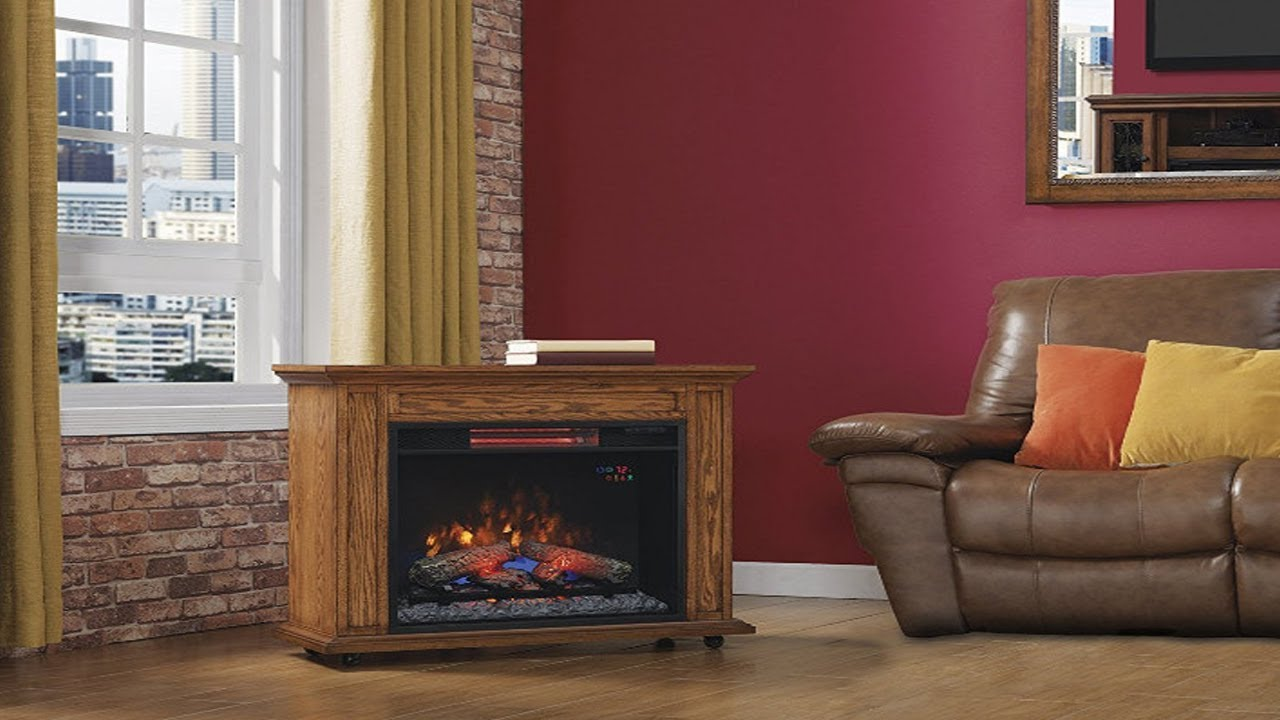 classicflame rolling mantel with infrared quartz fireplace oak